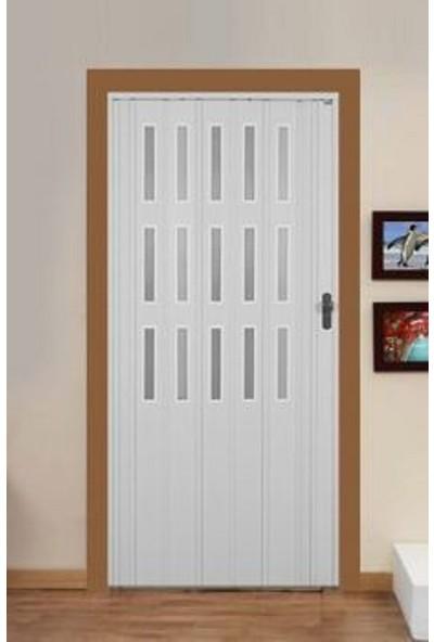 Erikmann Katlanır Akordiyon Pvc Kapı Camlı Tek Açılım Akçağaç 72 x 205 cm