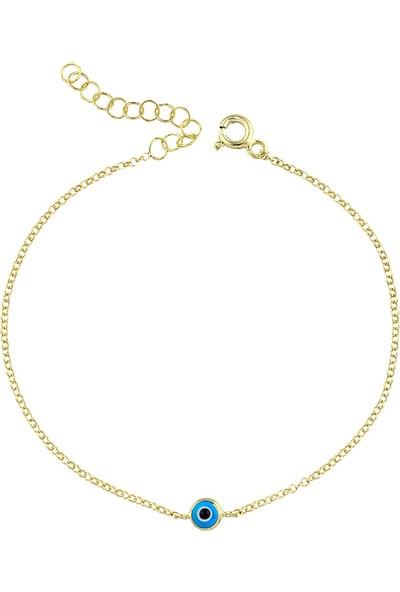 Girabella Altın Kaplama 925 Ayar Gümüş Nazar Zincir Bileklik Mavi