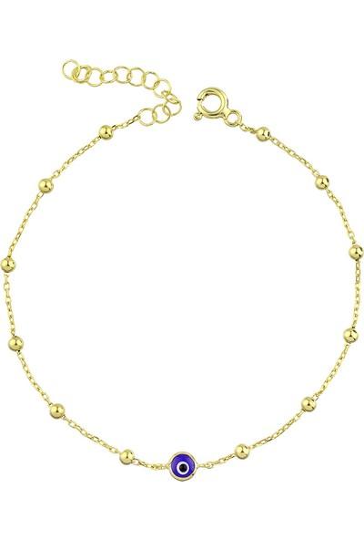 Girabella Altın Kaplama 925 Ayar Gümüş Nazar Zincir Bileklik Lacivert