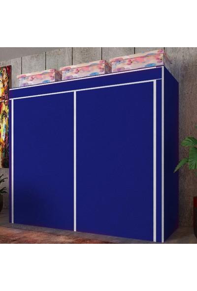 Mavi Pazar Mega Boy Çift Yandan Raflı ve Askılı Bez Dolap
