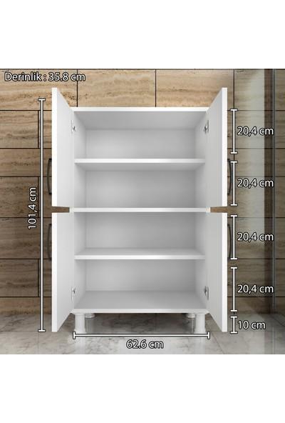 Rani F3 Çok Amaçlı Dolap 4 Kapaklı 4 Raflı Banyo Balkon Mutfak Dolabı Beyaz M9