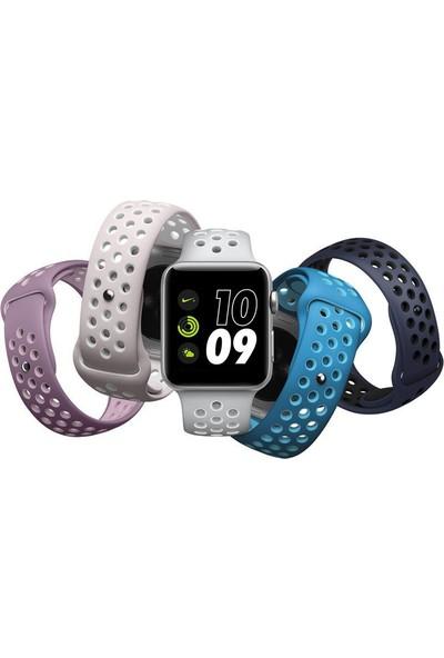 Case 4U Apple Watch Seri 5-4-3-2-1 Silikon Delikli Spor Kordon 42 mm - 44 mm - Kırmızı Siyah