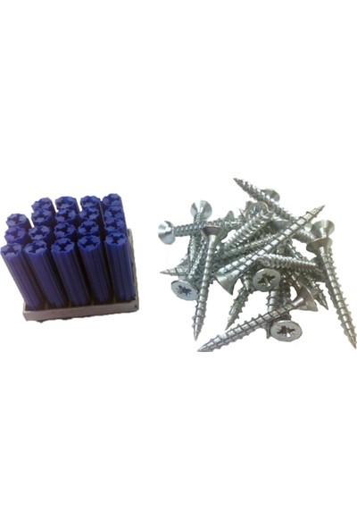 Expandet Dübelci Beton Plug Expandet 8 x 35 mm ve 6 x 50 mm Sunta Vidası Plastik Dübel 25 Adet