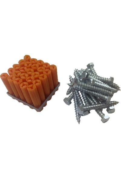 Expandet Dübelci Beton Plug Expandet 10 x 50 mm ve 8 x 60 mm Sunta Vidası Plastik Dübel 25 Adet