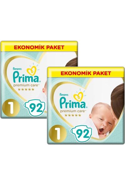 Prima Bebek Bezi Premium Care 1 Beden Yenidoğan Ekonomik Paket 92x2 184 Adet
