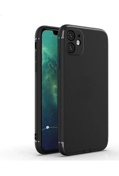 Case Street Apple iPhone 11 Kılıf Renkli Tıpalı Kamera Korumalı Silikon Esnek Koruma Siyah