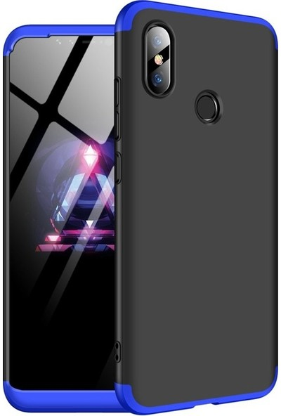 Case Street Samsung Galaxy M10s Kılıf Ays 3 Parçalı Full Korumalı + Nano Glass Mavi