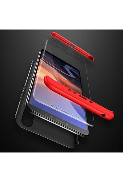Case Street Samsung Galaxy M10s Kılıf Ays 3 Parçalı Full Korumalı + Nano Glass Siyah - Kırmızı