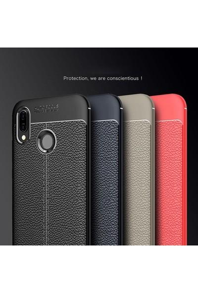 Case Street Samsung Galaxy M10s Kılıf Niss Silikon Deri Görünümlü + Nano Glass Kırmızı