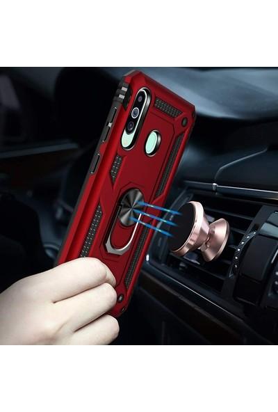 Case Street Samsung Galaxy M40 Kılıf Çift Katmanlı Tank Yüzüklü Mıknatıslı Vega Kapak + Nano Glass Kırmızı