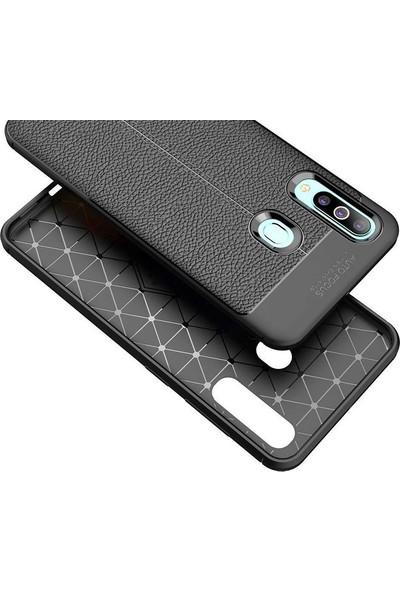 Case Street Samsung Galaxy M40 Kılıf Niss Silikon Deri Görünümlü + Nano Glass Kırmızı