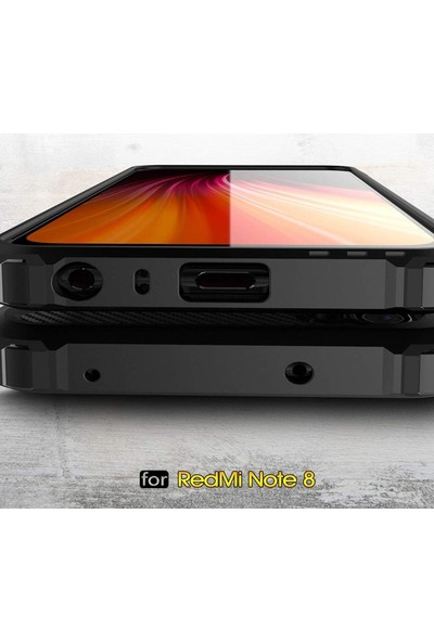 Case Street Xiaomi Redmi Note 8T Kılıf Crash Tank Çift Katman Koruyucu Gold