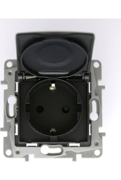 Legrand Salbei Serisi Antrasit Kapaklı Topraklı Priz 230V 16A Çerçevesiz