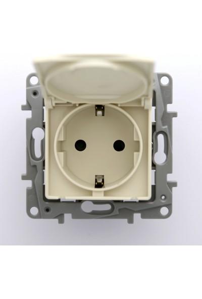 Legrand Salbei Serisi Bej Kapaklı Topraklı Priz 230V 16A Çerçevesiz