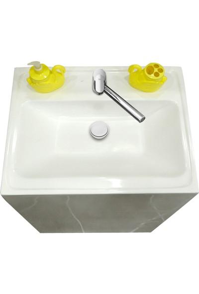 Binbir Banyo Monoblok Beyaz Raflı Lavabo
