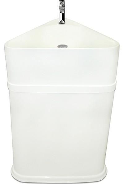 Binbir Banyo Monoblok Üçgen Beyaz Lavabo