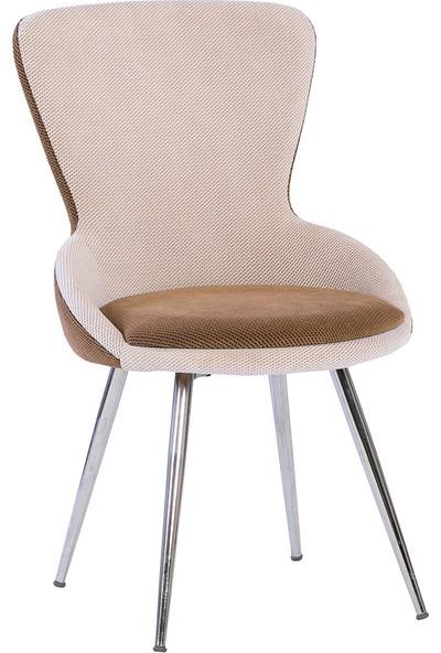 Enzi Mobilya EN641 Kahverengi- Beyaz Sandalye