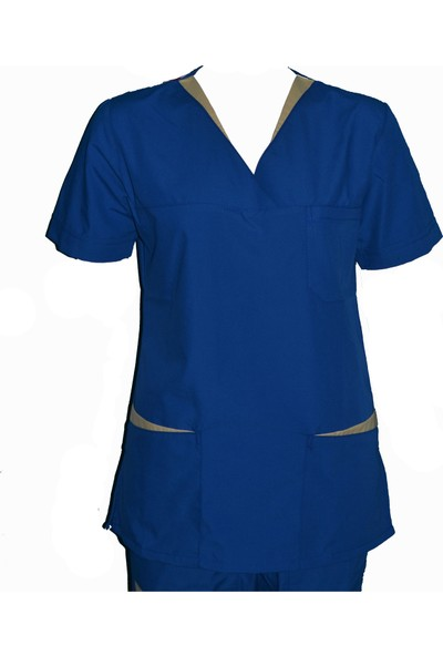 Hemşire Forması Biyeli Saks Mavisi