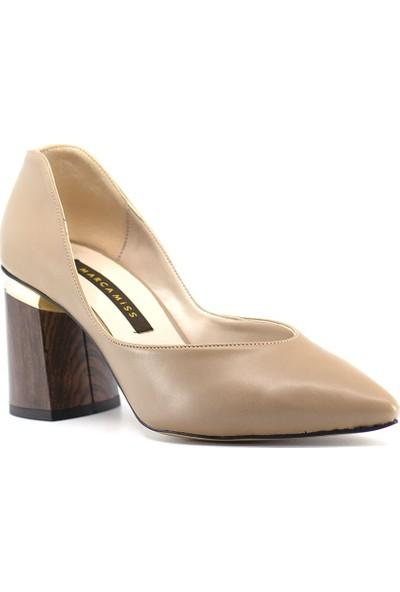 Eşle 9K-7653 Kadın Deri Topuklu Ayakkabı Vizon