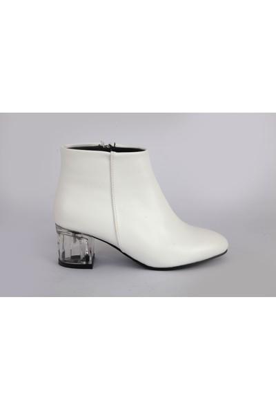 Hepsi̇trend Mat Deri Şeffaf Kısa Topuk Yuvarlak Burun Bot Beyaz