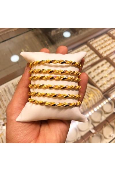 Altındolabım Altın Kaplama Adana Burgu Model Bilezik 20 gr Üçlü Adana Burma 22 Ayar