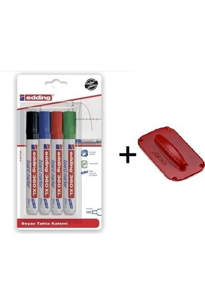 Edding 360XL Beyaz Tahta Kalemi 4'lü Paket + Tahta Silgi