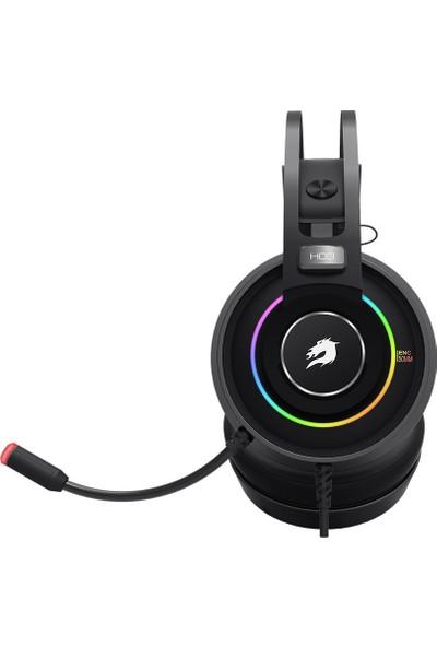 GameBooster H03 Dragon King Running RGB LED Titreşimli 7.1 Siyah Oyuncu Kulaklığı GB-H03