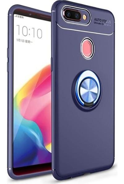 Tbkcase Oppo A5S Kılıf Ravel Yüzüklü Standlı Silikon Lacivert + Nano Ekran Koruyucu