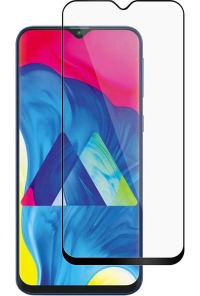 KNY Samsung Galaxy M10s Kenarı Kırılmaya Dayanıklı Full Yapışan 5D Cam Ekran Koruyucu - Siyah