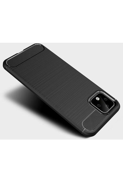 Microcase Google Pixel 4 Brushed Carbon Fiber Silikon Kılıf - Siyah