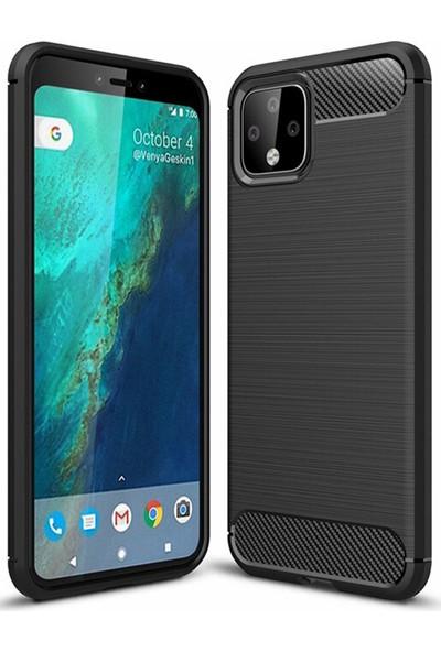 Microcase Google Pixel 4 XL Brushed Carbon Fiber Silikon Kılıf - Siyah