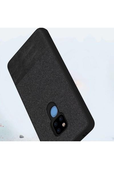 Microcase Huawei Mate 20X Fabrik Serisi Kumaş ve Deri Desen Kılıf - Siyah