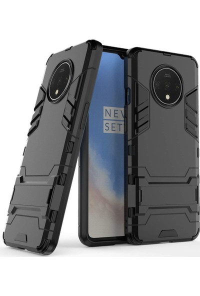 Microcase OnePlus 7T Alfa Serisi Armor Standlı Perfect Koruma Kılıf - Siyah