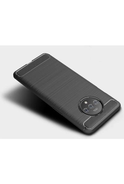 Microcase OnePlus 7T Brushed Carbon Fiber Silikon Kılıf - Siyah