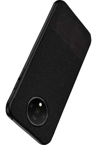 Microcase OnePlus 7T Fabrik Serisi Kumaş ve Deri Desen Kılıf - Siyah
