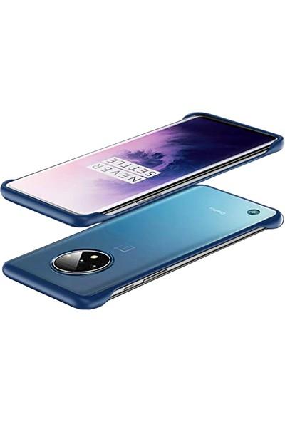 Microcase OnePlus 7T Frameless Serisi Sert Rubber Kılıf - Mavi