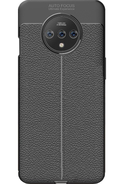Microcase OnePlus 7T Leather Tpu Silikon Kılıf - Siyah