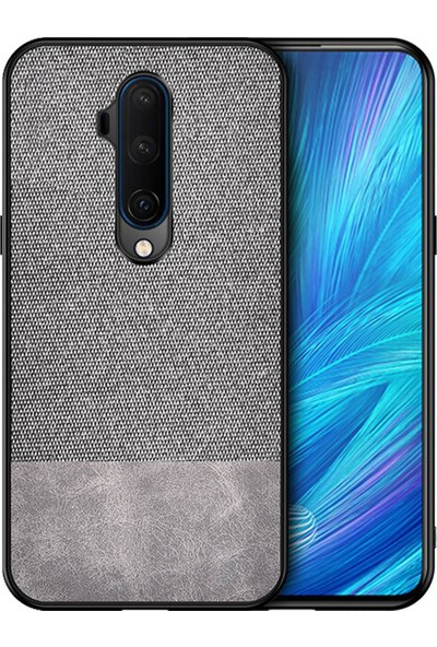 Microcase OnePlus 7T Pro Fabrik Serisi Kumaş ve Deri Desen Kılıf - Gri