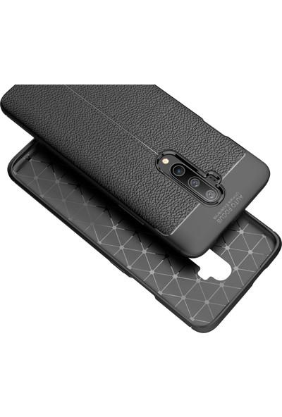 Microcase OnePlus 7T Pro Leather Tpu Silikon Kılıf - Siyah
