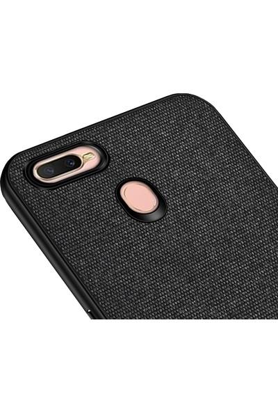Microcase Oppo A5s Fabrik Serisi Kumaş ve Deri Desen Kılıf - Siyah