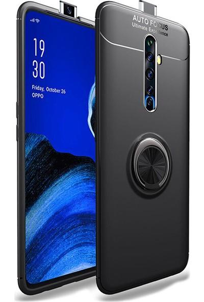 Microcase Oppo Reno 2Z Focus Serisi Yüzük Standlı Silikon Kılıf - Siyah