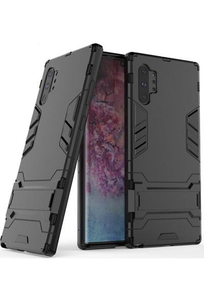 Microcase Samsung Galaxy Note 10 Plus Alfa Serisi Armor Standlı Perfect Koruma Kılıf - Siyah