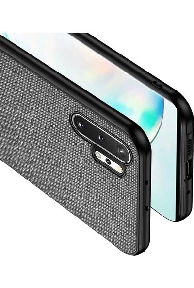 Microcase Samsung Galaxy Note 10 Plus Fabrik Serisi Kumaş ve Deri Desen Kılıf - Gri