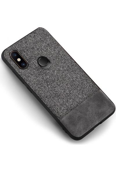 Microcase Xiaomi Mi 6X Fabrik Serisi Kumaş ve Deri Desen Kılıf - Gri