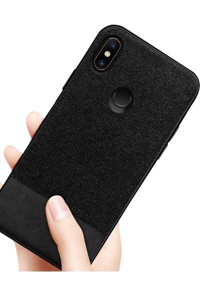 Microcase Xiaomi Mi 6X Fabrik Serisi Kumaş ve Deri Desen Kılıf - Siyah