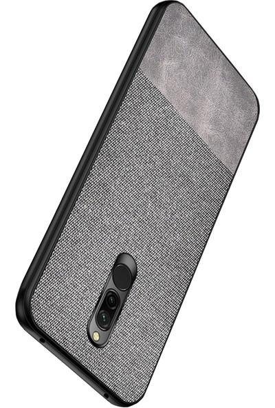 Microcase Xiaomi Redmi 8 Fabrik Serisi Kumaş ve Deri Desen Kılıf - Gri