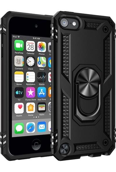 Teleplus Apple iPod Touch 6. Nesil Kılıf Vega Yüzüklü Tank Kapak Siyah