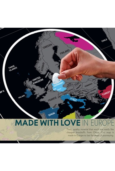 Scratch Map Eyaletli Bayraklı Kazınabilir Dünya Haritası 2020 Versiyon En Büyük Boy 70×100 cm