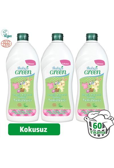 Baby's Green Organik Aloe veralı Bebek Çamaşır Deterjanı 1 Lt - Kokusuz3'lü Set