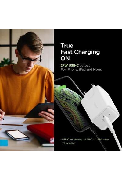 Spigen SteadiBoost 18W Apple Hızlı Şarj Cihazı + USB-C Lightning Kablo (iOS Cihazlar ile Uyumlu) 2in1 Şarj Aleti Paketi